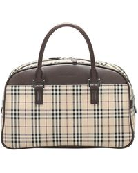 Burberry Brown Leather-trimmed Check Canvas Haymarket Bag - Natural