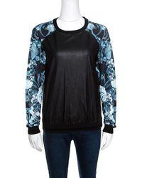 Roberto Cavalli Gym Faux Leather Detail Raglan Sleeve Sweatshirt - Black