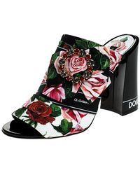 Dolce & Gabbana Multicolor Floral Printed Fabric Crystal Embellished Bow Open Toe Mules