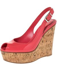 Gianvito Rossi Coral Pink Patent Leather Cork Wedge Peep Toe Platform Slingback Sandals