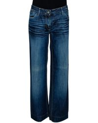 Dolce & Gabbana Indigo Medium Washed Denim Wide Leg Jeans - Blue