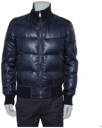 Dolce & Gabbana Navy Blue Synthetic Puffer Jacket