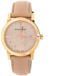 Burberry Tan Rose Gold Plated Stainless Steel Nude Bu9109 Women's Wristwatch 34 Mm - Multicolor