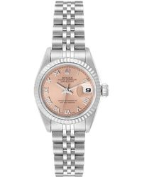 Rolex Salmon 18k White Gold And Stainless Steel Datejust 69174 Women's Wristwatch 26 Mm - Pink