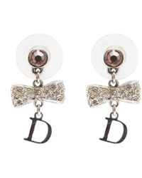 Dior - Bow Crystal -tone Dangle Earrings - Lyst