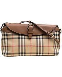 Burberry - Beige  Haymarket Check Canvas And Leather Crossbody Bag - Lyst 9b43cc5f9631b
