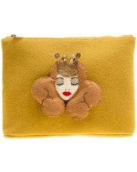 Charlotte Olympia Yellow Wool Sleeping Beauty Felt Pouch