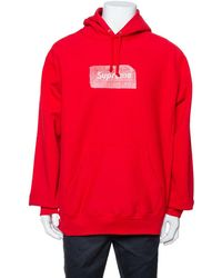 Supreme Red Cotton Swarovski Box Logo Hoodie