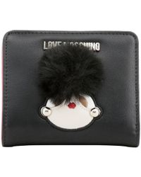 Moschino - Love Black Faux Leather Coin Purse - Lyst