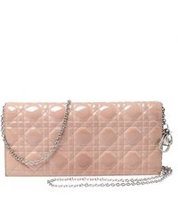Dior Beige Quilted Cannage Patent Leather Lady Chain Clutch - Natural
