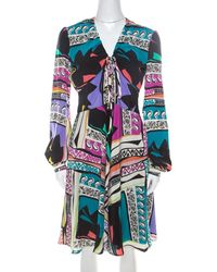 Etro - Multicolor Abstract Printed Silk Long Sleeve Flared Dress M - Lyst