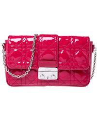 Dior Fuschia Patent Leather New Lock Chain Clutch Bag - Pink