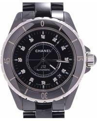Chanel Black Black Diamonds Ceramic And Stainless Steel J12 H1626 Wristwatch