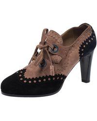 Hermès - Multicolor Suede Brogue Detail Lace Up Round Toe Platform Booties - Lyst