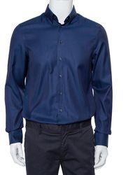 Giorgio Armani Navy Blue Patterned Silk Button Front Shirt