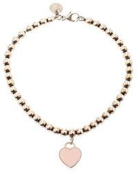 Tiffany & Co. Return To Tiffany Enamel Heart Tag Silver Bead Bracelet - Metallic