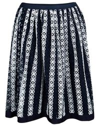 Lanvin - And White Striped Cut Out Embroidery Detail Skirt M - Lyst