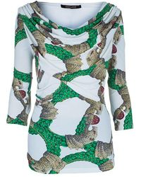 Roberto Cavalli - Draped Neck Jersey Print Top M - Lyst