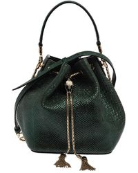 BVLGARI Metallic Green Karung Serpenti Forever Bucket Bag