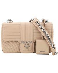Prada Beige Leather Diagramme Shoulder Bag - Natural