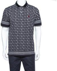 Dolce & Gabbana Charcoal Gray Cactus Print Cotton Polo T-shirt