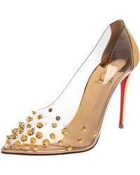 Christian Louboutin Gold Leather And Pvc Collaclou Spiked Court Shoes - Metallic