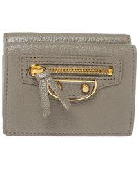 Balenciaga Gris Taupe Leather Mini Metallic Edge Wallet - Gray
