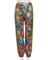 Gucci Brown Floral Printed Knit Sweatpants