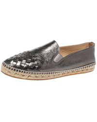 Bottega Veneta Metallic Grey Intrecciato Leather Espadrille Flats
