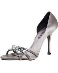 Le Silla Grey Satin Crystal Embellished Strappy Sandals