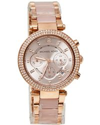 Michael Kors Rose Gold Tone Stainless Steel Parker Mk5896 Wristwatch - Pink
