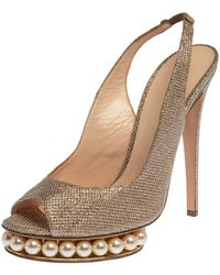 Nicholas Kirkwood Metallic Gold Glitter Fabric Pearl Embellished Platform Slingback Sandals