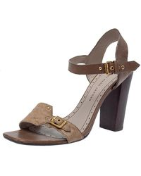 Marc Jacobs Brown Pony Hair And Leather Ankle Strap Sandals