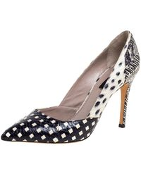 Marc Jacobs White / Black Printed Python Pointed Toe Court Shoes