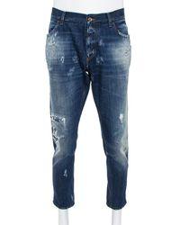 Dolce & Gabbana Blue Distressed Denim Patch Detail Jeans