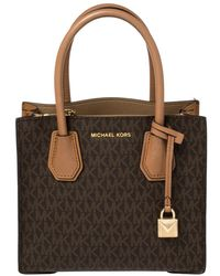 Michael Kors Two Tone Brown Signature Coated Canvas And Leather Mini Mercer Tote