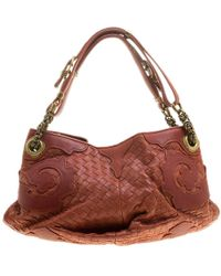 95651131ecb Burberry Copper Orange Check Leather  orchard  Small Bowling Bag in ...
