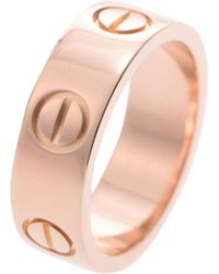 Cartier Love 18k Rose Gold Band Ring Size 46 - Pink