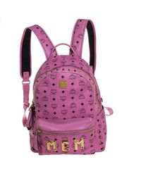 MCM Pink Visetos Leather Large Studs Stark Backpack