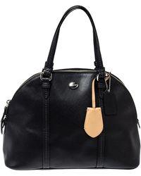COACH Black Leather Peyton Dome Satchel