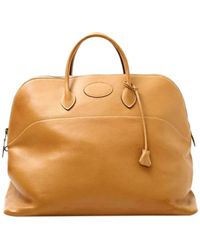 Hermès Brown Taurillon Clemence Leather Bolide 45 Bag