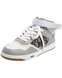 Dior Grey/white Leather And Jacquard B27 High Top Trainers
