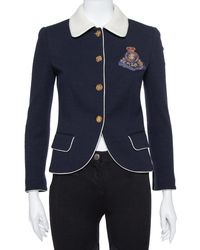 Ralph Lauren Navy Blue Wool Fitted Cropped Jacket