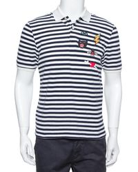 Gucci Navy Blue & White Striped Pique Knit Polo T Shirt