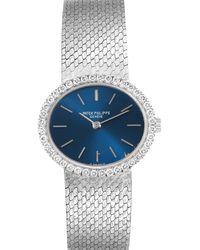 Patek Philippe Blue Diamonds 18k White Gold Classique 4175 Wristwatch 24 X 21 Mm