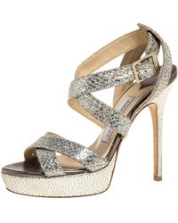 Jimmy Choo Gold/silver Glitter Vamp Platform Strappy Sandals - Metallic