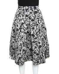 4143545ab8f CH by Carolina Herrera - Monochrome Floral Patterned Brocade Flared Skirt M  - Lyst