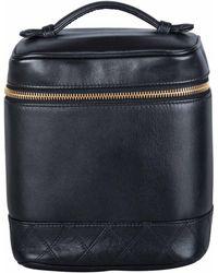 Chanel Black Leather Cosmetic Vanity Bag