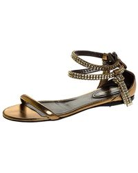 Roberto Cavalli Bronze Leather Crystal Embellished Ankle Strap Flat Sandals - Metallic