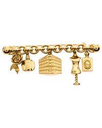 Dior Vintage Multi Charm Curb Chain Bar Pin Brooch - Metallic